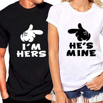 Popular I'm Hers He's Mine Loving Couple Short Sleeve Graphic T Shirt
