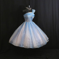 Vintage 1950's 50s STRAPLESS Ombre Blue Ruched Chiffon Organza Party Prom Wedding Dress Gown