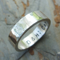 Men's Hammered Sterling Silver Heavy Wedding Band