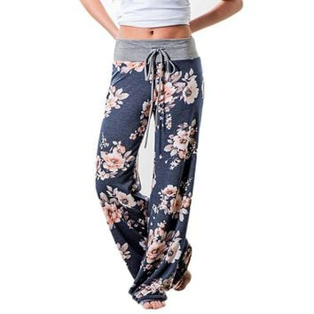Floral print womens sweatpants loose fit yoga pants athletic pajamas