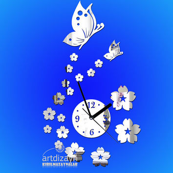 decorative butterfly and flowerShatterproof  mirror wall clock modern wedding gift