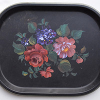 Vintage Tole Tray Toleware Tray Hand Painted Roses & Flowers Black Tole Tray Kitchen Decor
