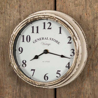 Rustic Weathered Country Farmhouse White General Store Wall Clock
