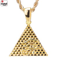 """Jewelry Kay style Men's 14k Gold Plated Iced Out 3D Egypt Pyramid Pendant 24"""" Rope Chain HC 1098 G"""
