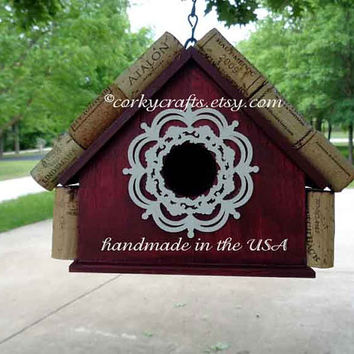 Wine Cork Birdhouse - Happy Hour for the birds! Anniversary gift, garden art