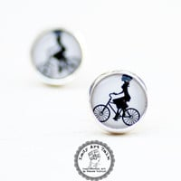 Lady on Bike Stud Earrings, Bicycle Jewellry, Photo Jewelry, Art Jewelry, Post Earrings, Black and White Earrings, Vintage, Retro