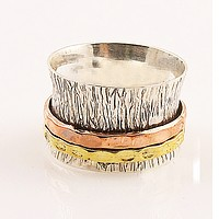 Spinner Ring - Three Tone Two Hammered Bands- Keja Jewelry