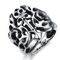 Retro Pattern Creative Hollow Forward Cross Stainless Steel Men's Ring (1 Pcs)