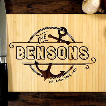 Personalized Engraved Cutting Board, Family Name and Date, Kitchen Decor, Wedding, Housewarming, Engagement, Bride and Groom, Christmas Gift