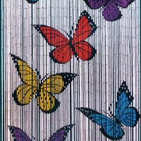 Bamboo door curtain with Butterflies on white background