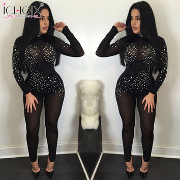 ICHOIX New Fashion Sexy Night Club Long Sleeve Sequined Spring Autumn Bodycon Jumpsuits Skinny Womens Jumpsuit Combinaison Femme