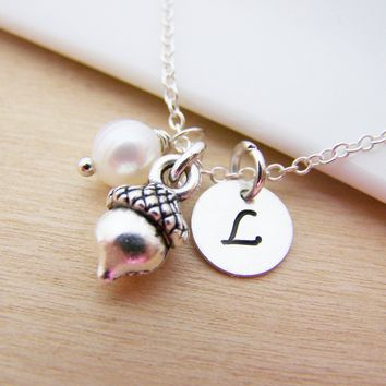 Tiny Acorn Charm Swarovski Birthstone Initial Personalized Sterling Silver Necklace / Gift for Her
