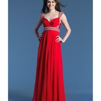 Dave & Johnny 8671 Red Chiffon & Beaded Empire Waist Gown 2015 Prom Dresses