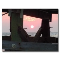 Sunset Through The Pier - Oak Island, NC Postcard