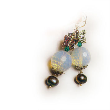 Moonstone Earrings with Grey Freshwater Pearl, Butterflies and Green Crystal