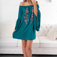 Sweet Memories Embroidered Dress (Teal)