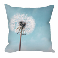 Dandelion Throw Pillow in pale blue and white