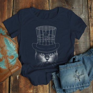 Women's Cool Cat T Shirt Hipster Cat Shirts Top Hat Gentlemen Cats Monocle Glasses Hand Drawn Illustration Tee