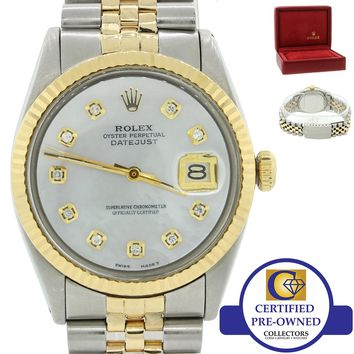 Vintage Rolex DateJust 1601 Two Tone 14k Gold Steel Diamond MOP Watch w/Box