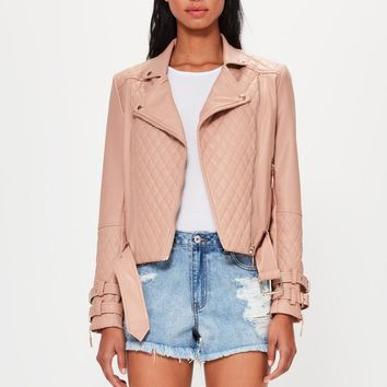 Missguided - Peace + Love Nude Faux Leather Quilted Biker Jacket