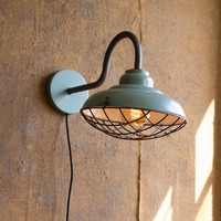 Wall Sconce Light With Wire Cage Cover ~ Industrial Blue