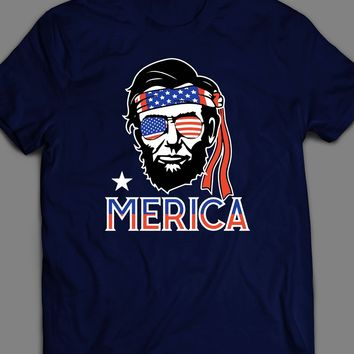 """ABRAHAM LINCOLM """"MERICA"""" PARODY 4TH OF JULY T-SHIRT"""