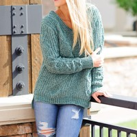 * Coffee And Cuddles Chenille Sweater: Emerald