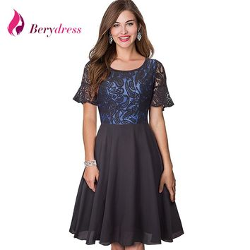 Berydress Elegant Women Butterfly Short Sleeve Lace Patchwork Chiffon A-Line Knee-Length Little Black Dress Casual Swing Dress