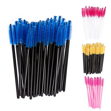 100Pcs Disposable Eyelash Brush Mascara Wands Applicator Spoolers Eye Lashes Cosmetic Brushes Set Makeup Tool Multicolor