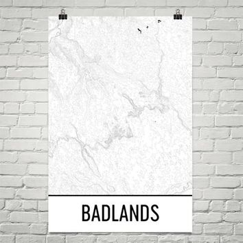 Copy of Badlands National Park Topographic Map Art