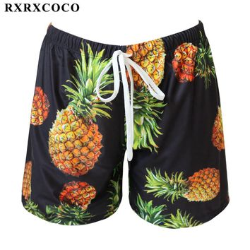 RXRXCOCO Brand Men Swimming Panties Pineapple Printed Short Pants Male Summer Beach Bathing Trunks Adjustable Bandage Swimwear