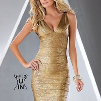 Metallic hold you in dress in the VENUS Line of Dresses for Women