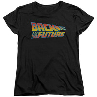 BACK TO THE FUTURE/LOGO - S/S WOMEN'S TEE - BLACK - MD - Black -