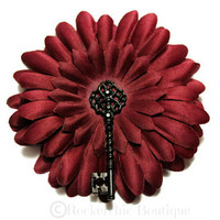 Gothic Hair Accessories - Burgundy Hair Flower - Womens, Adult, Pin Up, Rockabilly - Big, Red, Black Skeleton Key