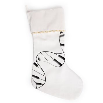 "Tobe Fonseca ""DNA Piano"" White Black Christmas Stocking"