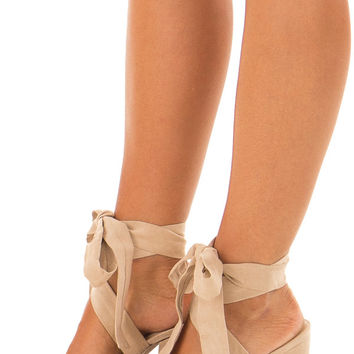 Taupe Suede Block Heels with Lace Up Ankles