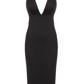 Black Packet Buttock Party Dress With Plunge Neckline