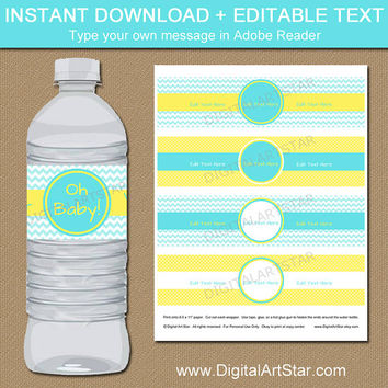Oh Baby Decorations - Yellow Aqua Baby Shower Water Bottle Labels - Printable Baby Shower Party Decor - Baby Sprinkle Water Labels Download