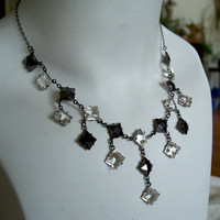 Antique Deco Crystal Black Glass Silver Necklace Open Back Geometric Dangles