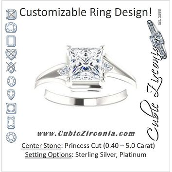 Cubic Zirconia Engagement Ring- The Erma (Customizable Princess Cut 3-stone Style with Small Round Cut Accents and Tapered Split Band)