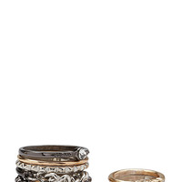 FOREVER 21 Etched Midi Ring Set Gold/Gunmetal