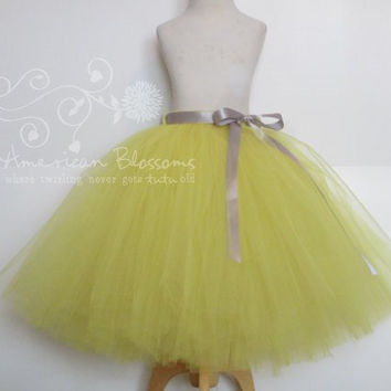 Yellow Bridesmaid Bright Yellow Tulle Skirt Tea Length Adult tutu Long Teen Bridesmaid Skirt Gray Ribbon Bow Wedding American Blossoms