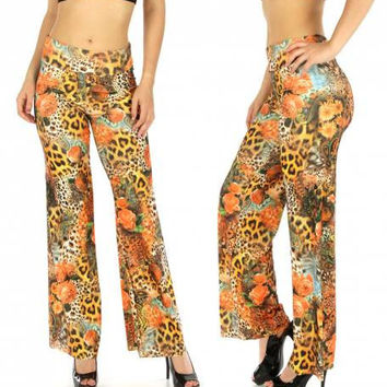Floral Paisley Animal Print Palazzo Pants In Sizes S-3X
