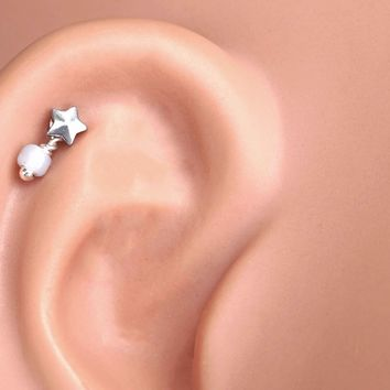 Silver Square Cartilage Earring Tragus Helix Piercing