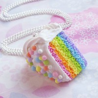 Pastel Rainbow Cake Slice Necklace, Polymer Clay Food Necklace