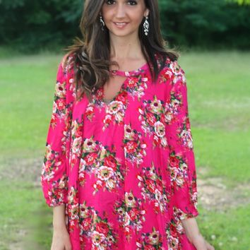 Jodifl Fuchsia Floral Print Tunic Top Dress with Keyhole Front