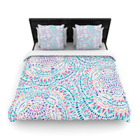 "Miranda Mol ""Kaleidoscopic White"" Aqua Abstract Woven Duvet Cover"