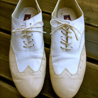 Mens Leather Wing Tip Swing Dance Shoes // by Celebrity 80s // White and Tan Lace Up // Size 10 1/2