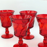 Vintage Jamestown Ruby by Fostoria Stemmed Cocktail Glasses (Set of 4) New Year's Barware
