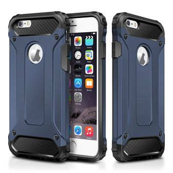 """iPhone 6S Plus Case,Wollony Rugged Hybrid Dual Layer Armor Protective Back Case Shockproof Cover for iPhone 6/6S Plus 5.5""""- Heavy Duty - Slim Hard Shell Protection - Impact Resistant Bumper(Deep Blue)"""